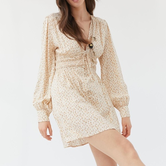 UO Asher Button-Front Mini Dress